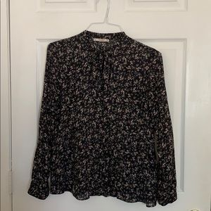 Pull & Bear Ditsy Vintage Floral Print Tie Blouse